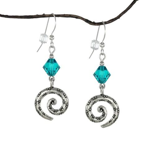 Handmade Jewelry by Dawn Teal Crystal Bicone Pewter Swirl Earrings (USA)