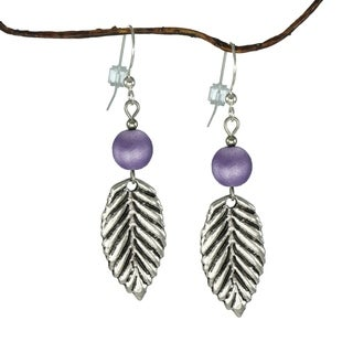 Handmade Jewelry by Dawn Purple Satin Glass With Antique Pewter Leaf Earrings (USA)