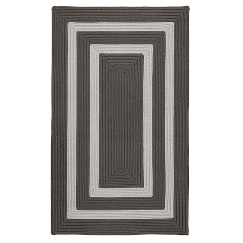 Clemson Double-Border Grey Shimmer Braided Area Rug - 12' x 15'