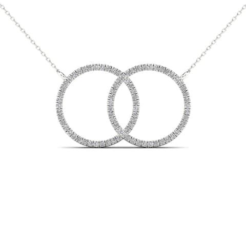 AALILLY 10k White Gold 1/4ct TDW Diamond Double Circle Pendant Necklace (H-I, I1-I2)