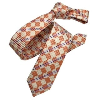 DMITRY Orange Patterned Italian Silk Skinny Tie