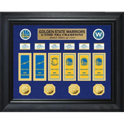 Golden State Warriors 6-Time NBA Champions Deluxe Gold Coin & Banner Collection - Multi-color