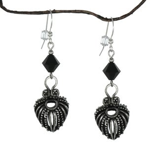 Handmade Jewelry by Dawn Black Crystal Bicone Antique Pewter Puffed Teardrop Earrings (USA)
