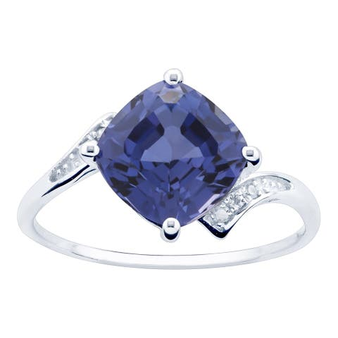 10K White Gold 3.28ct TW Tanzanite and Diamond Ring - Purple