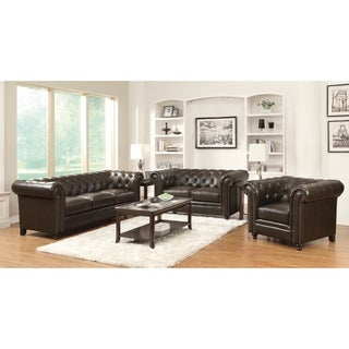 Roy Traditional Brown 3-piece Living Room Set