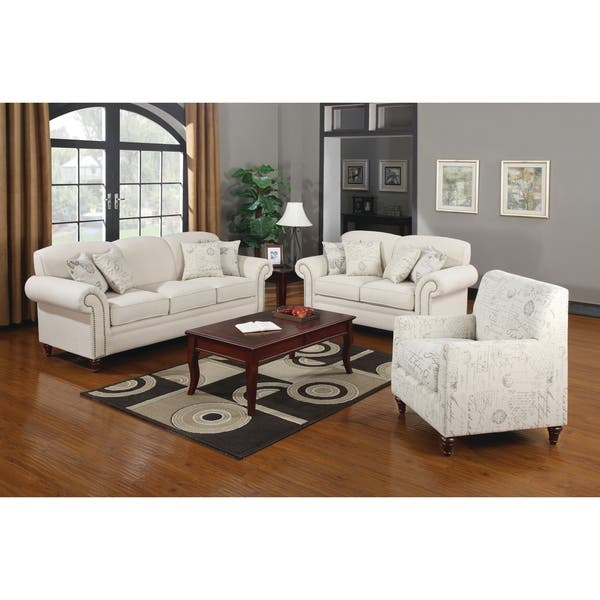 Shop Norah Traditional White 3-piece Living Room Set - On ...