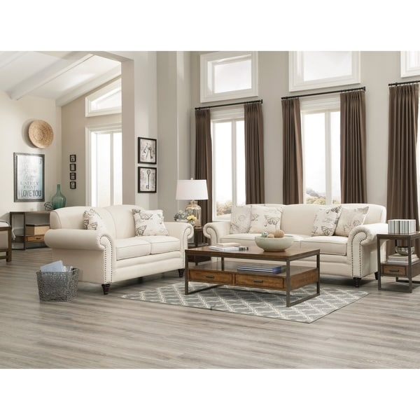 Norah Traditional White 2-piece Living Room Set - N/A