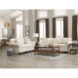 Norah Traditional White 2-piece Living Room Set