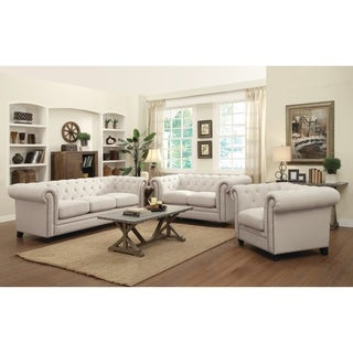 Roy Traditional Oatmeal 3-piece Living Room Set