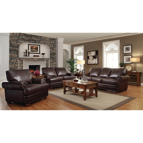 Colton Brown 3-piece Bonded Leather Living Room Set