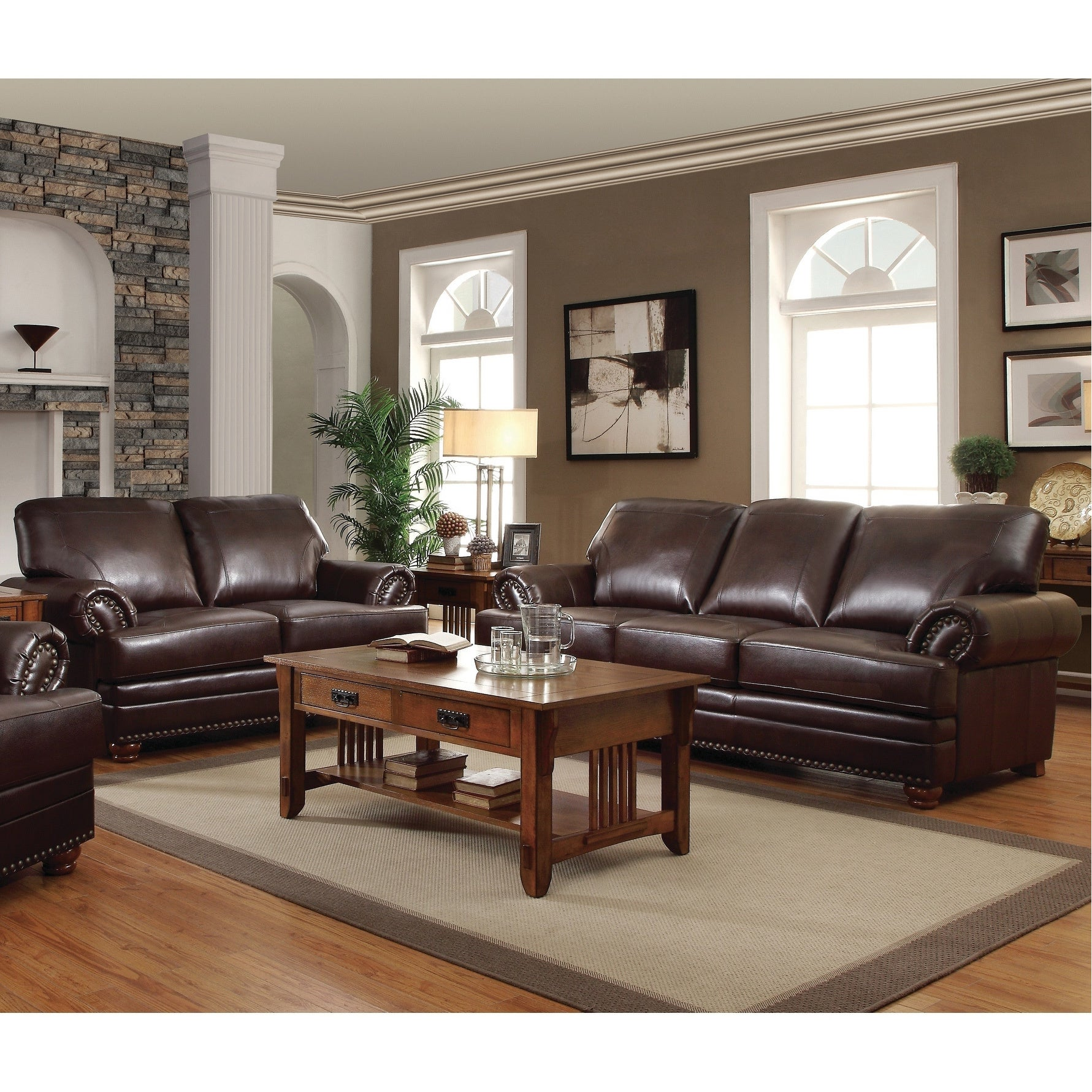 Colton Brown 2 Piece Leather Living Room Set N A