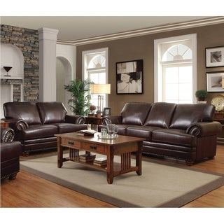 Colton Brown 2-piece Leather Living Room Set - N/A