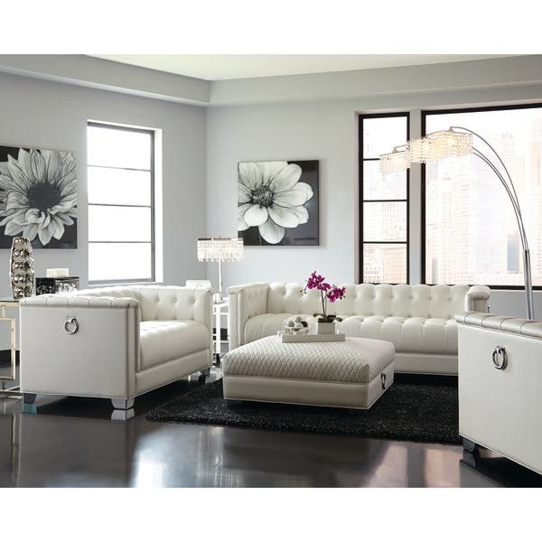 Shop Chaviano Contemporary White 3-piece Living Room Set ...