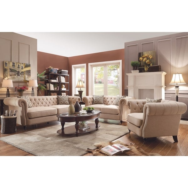 Overstock Living Room Sets: Shop Trivellato Traditional Oatmeal 3-piece Living Room