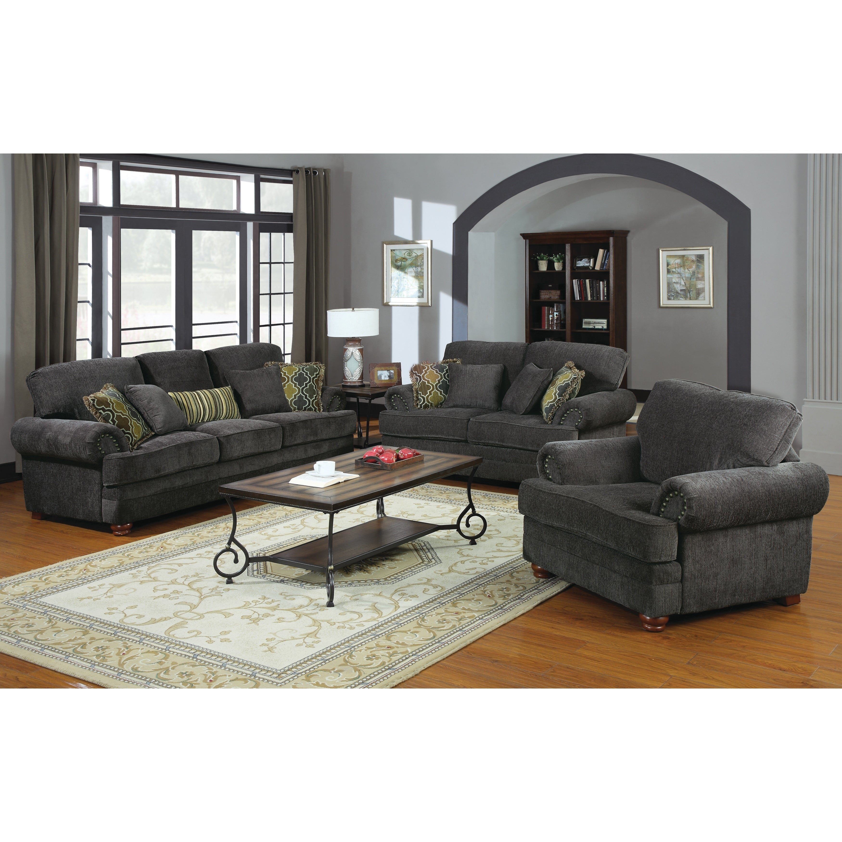 Colton Grey 3-piece Living Room Set - N/A