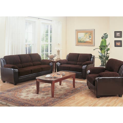 Monika Transitional Chocolate 3-piece Living Room Set