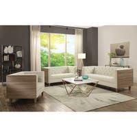 Fairbanks Contemporary Ivory 3-piece Living Room Set