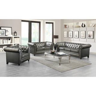 Roy Traditional Gunmetal Grey 3-piece Living Room Set