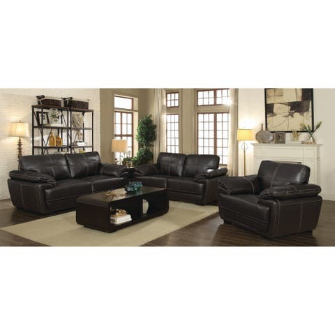 Zenon Brown 2-piece Leather Living Room Set