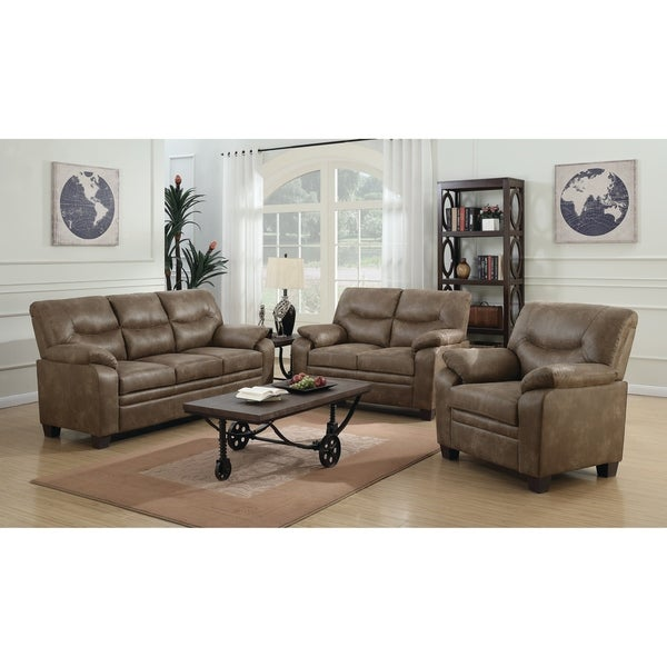 Meagan Casual Brown 3-piece Living Room Set - N/A