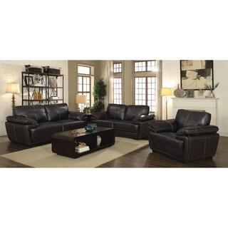 Zenon Brown 3-piece Leather Living Room Set