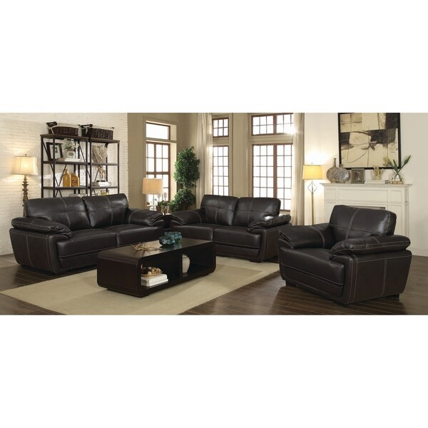 Zenon Brown 3-piece Faux Leather Living Room Set