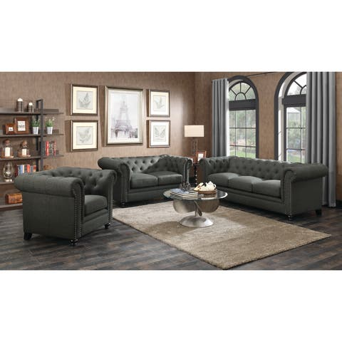 Roy Traditional Grey 3-piece Living Room Set
