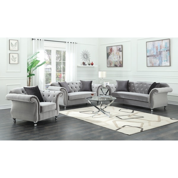 Living Room Sets Clearance: Shop Frostine Grey 3-piece Living Room Set