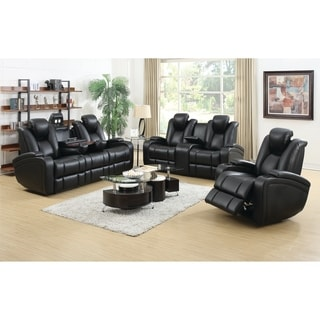 Zimmerman Black 3-piece Faux Leather Power Motion Living Room Set - N/A