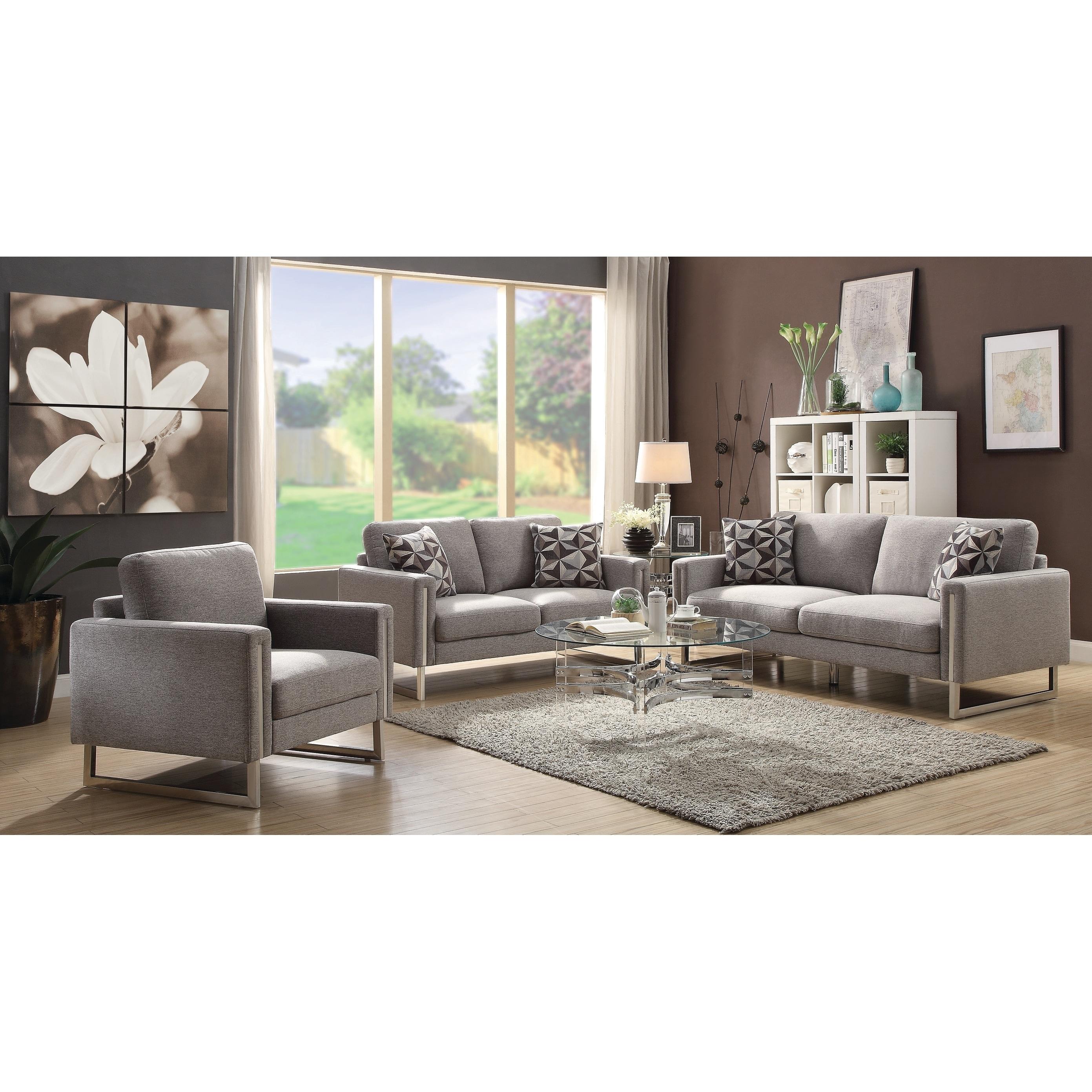 Stellan Contemporary Grey 3-piece Living Room Set - N/A