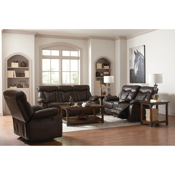 shop zimmerman dark brown 3 piece faux leather living room set on sale free shipping today. Black Bedroom Furniture Sets. Home Design Ideas