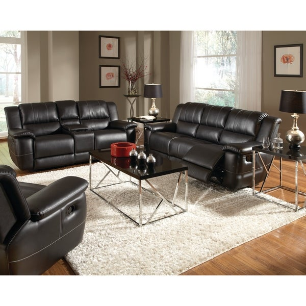 Shop Lee Transitional Black 2-piece Leather Reclining
