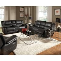 Lee Transitional Black 2-piece Leather Reclining Living Room Set