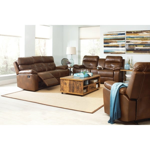 Shop Zimmerman Brown 3-piece Faux Leather Living Room Set