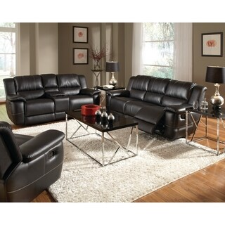 Lee Transitional Black 3-piece Leather Reclining Living Room Set - N/A