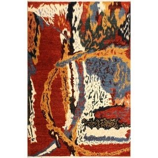 Modern Abstract Galaxy Cecilia Red/Ivory Area Rug (8'3 x 9'7) - 8 ft. 3 in. x 9 ft. 7 in.