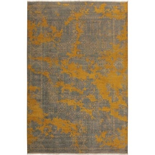 Modern Abstract Galaxy Morton Gray/Gold Area Rug (8'0 x 10'1) - 8 ft. 0 in. x 10 ft. 1 in.