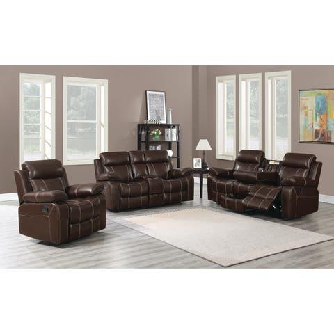Myleene Chestnut 3-piece Leather Living Room Set