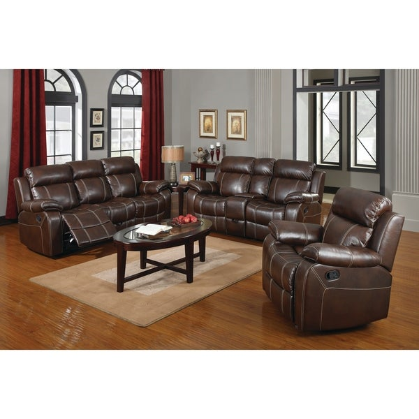 Shop Myleene Chestnut 3 Piece Leather Living Room Set On