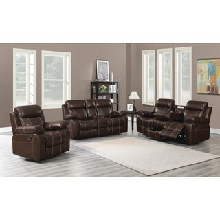 Myleene Chestnut 3-piece Leather Living Room Set