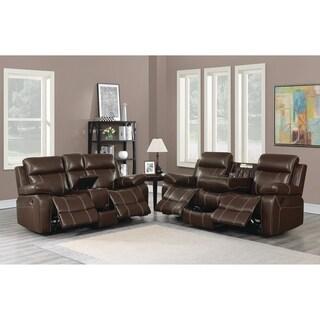 Myleene Chestnut 2-piece Leather Living Room Set