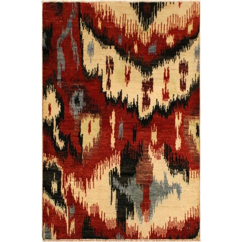 Modern Ikat Colby Red/Ivory Wool Area Rug (4'0 x 6'0) - 4 ft. 0 in. x 6 ft. 0 in. - 4 ft. 0 in. x 6 ft. 0 in.