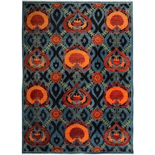 Kafkaz Peshawar Zack Gray/Blue Wool Rug (7'10 x 10'3) - 7 ft. 10 in. x 10 ft. 3 in.