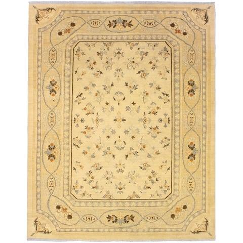 Kafkaz Peshawar Jami Ivory/Blue Wool Rug (8'0 x 10'5) - 8 ft. 0 in. x 10 ft. 5 in.