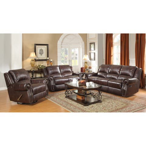 Sir Rawlinson Burgundy Brown 2-piece Motion Living Room Set