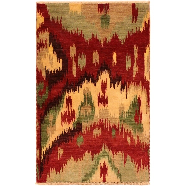 Shop Modern Ikat Barney Red Tan Wool Area Rug 2 11 X 5 0 2 Ft