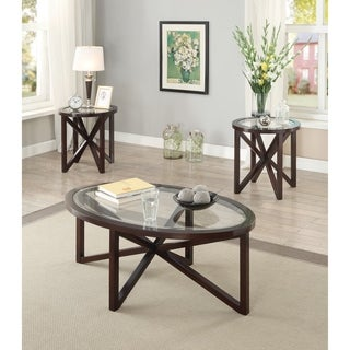 Transitional Cappuccino 3-piece Round Table Living Room Set