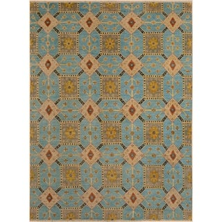 Kafkaz Peshawar Jackie Lt. Blue/Rust Wool Rug (7'9 x 9'8) - 7 ft. 9 in. x 9 ft. 8 in.