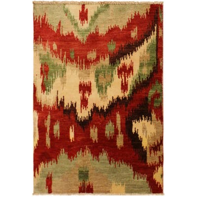 Modern Ikat Carmelo Red/Brown Wool Area Rug (3'0 x 4'0) - 3 ft. 0 in. x 4 ft. 0 in. - 3 ft. 0 in. x 4 ft. 0 in.