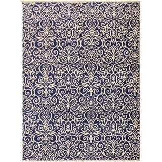 Cryena Modern Tiffiny Blue/Ivory Wool Area Rug (5'2 x 7'2) - 5 ft. 2 in. x 7 ft. 2 in.
